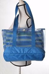 Igloo Stowe Insulated Cooler Tote Blue white green striped beach bag