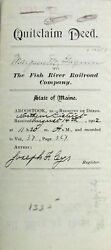 1902 The Fish River Railroad Co Land Purchase Warranty Deed Wallagrass Maine