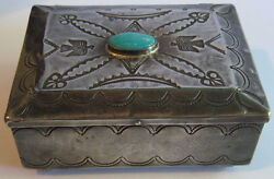 Large Vintage Navajo Indian Silver And Turquoise Stamped Thunderbirds Box