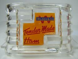 Antique Wilson And Co Tender Made Ham Advertising Art Deco Glass Ashtray Ornate