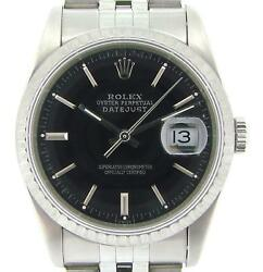 Rolex Datejust Mens Stainless Steel Watch Jubilee Band Black Dial Quickset 16220