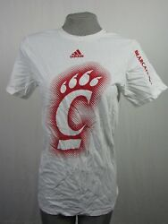 Cincinnati Bearcats NCAA Womens S White Adidas T-Shirt With Sleeve Lettering
