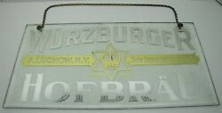 Antique Wurzburger Hofbrau Reverse On Glass Beer Sign A Luchow Ny Sole Importer