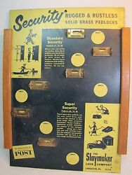 1940-50and039s Slaymaker Lock Company Store Display Sign Lancaster Pa Great Litho