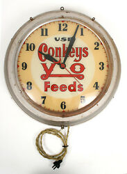 Very Rare Vtg 1920-30's Use Conkey's Y-o Feeds Advertising Wall Clock - Works