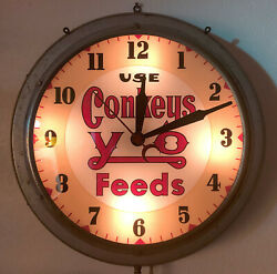 Very Rare Vtg 1920-30and039s Use Conkeyand039s Y-o Feeds Advertising Wall Clock - Works