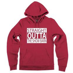Mens Straight Outta The Show Barn Hoodie Animals Cow Goats Country Farm Heifer
