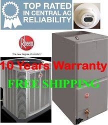 5 Ton R410A 15SEER Rheem Heat Pump System Condenser  Air Handler with Coil