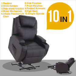 Black Power Lift Recliner Armchair Chair Leather Lounge Seat Chair For Elderly