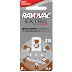 Rayovac Extra Hearing Aid 312 Size batteries Zinc air 30 120 cells