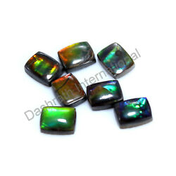 Natural Rare Ammolite Cushion Cabochon 6X8 mm To 8X10 mm Calibrated Gemstone