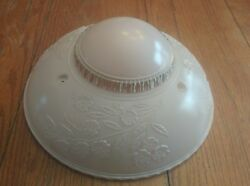 Vintage Art Deco 3 Hole Chain Hanging Light Pressed Glass Lamp Shade Floral
