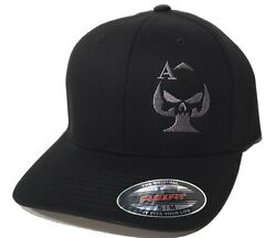 Ace of Spades Sniper Embroidered FLEXFIT Black Cap Hat 5001