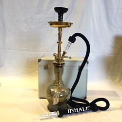 Gold Solid Brass Shaft Bohemia Style Handblown Glass Hookah In Suitcase