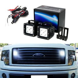 40w Cree Led Pod Lights W/ Behind Grille Brackets, Wiring For 09-14 Ford F150