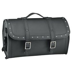 Held Cruiser Black Motorcycle Leather Barrel Bag With Stainless Rivets 14 L
