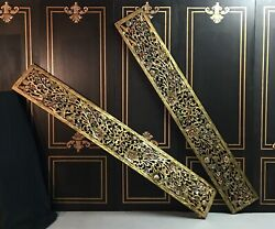 Mid Century Style Indonesian Carved Wood Guilted Wall Panels Pair