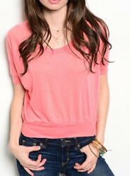 NWT Small Women's Soft Coral Tee Summer Boutique Top Blouse $18.00