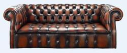 Chesterfield Darcy 3 Seater Buttoned Seat Antique Light Rust Leather Sofa Settee