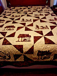 Handmade Queen Quilt. With Moose, Deer, Mountain Lion And Wolves.