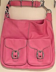 COACH Bleecker Felicia Glove Tanned Leather Pink XL Slim Duffle Hobo Bag Purse