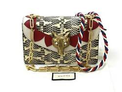 Auth GUCCI Fox Broche Chain Shoulder Bag BeigeRedGray Python Leather - 94078