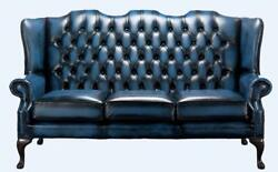Chesterfield 3 Seater Queen Anne Mallory High Back Antique Blue Leather
