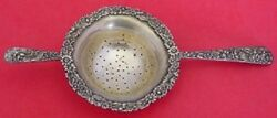 Repousse By Kirk Sterling Silver Tea Strainer Double Handle Applied Lacing