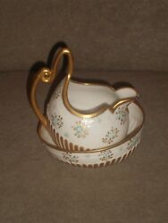 Rare Cac Lenox Cream And Sugar Gold And Blue Dot Pattern Cac Belleek Palette Mark