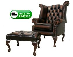 Chesterfield New Queen Anne High Back Wing Chair Antique Real Leather/footstool