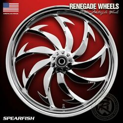 Renegade Spearfish Chrome 21 Wheels Package Set Tires Harley Flh/t 09-18