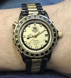 Rare Vintage Tag Heuer Gmt Airline Mens Gold Plated Steel Wrist Watch 200