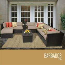 Tk Classic Barbados 10 Piece Wicker Patio Sectional Set In Tan