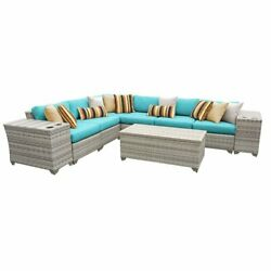 TKC Fairmont 9 Piece Patio Wicker Sectional Set in Turquoise