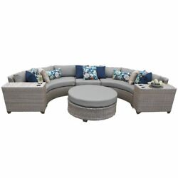 Tk Classic Florence 6 Piece Wicker Patio Sectional Set In Gray