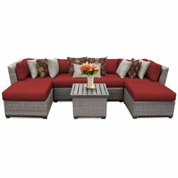 Tk Classics Florence 7-piece Patio Wicker Sectional Set 07a In Red