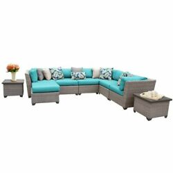 TKC Florence 9 Piece Patio Wicker Sectional Set in Turquoise