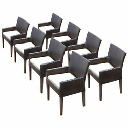 Tkc Napa Patio Dining Arm Chair In White Set Of 8