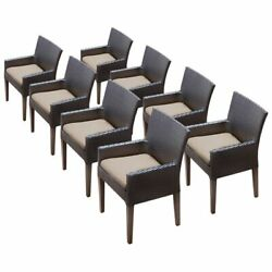 Tk Classic Napa Patio Dining Arm Chair In Tan Set Of 8