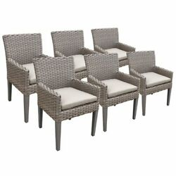 Tkc Oasis Patio Dining Arm Chair In Beige Set Of 6