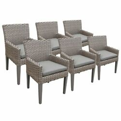 Tkc Oasis Patio Dining Arm Chair In Gray Set Of 6