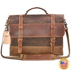 NEWHEY Mens Messenger Bag Waterproof Canvas Leather Computer Laptop Bag 15.6 In