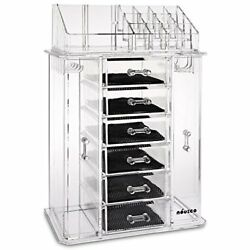 Jewelry Box & Makeup Organizer Set 24 Slots Clear Acrylic Bags Cases Accessories
