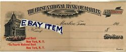 1906 Draft First National Bank Check Of Marlin Texas Southwest Texas New York