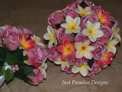 Artificial Wedding Bouquet Roses And Frangipani Tropical Bride Wedding Package