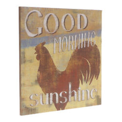 Vintage Good Morning Sunshine Chicken Rooster Wooden Sign Country Home Decor