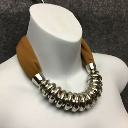 Brown Scarf Fashion Necklace Bold Chunky Silver Tone Circular Accent Design NEW