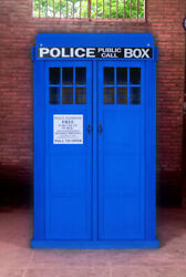 English Police Call Box Doctor Dr. Who Tardis Blue Phone Booth Full Size KD