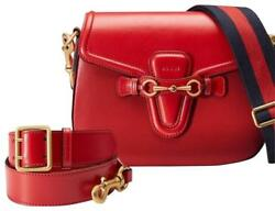 New!! GUCCI Red Leather Lady Web Cross Body Bag