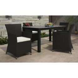 Modway Junction 5 Piece Outdoor Dining Set In Brown And White